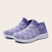 Wide Fit Knit Slip On Sneakers