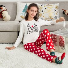 Girls Christmas Letter Graphic Top & Polka Dot Pants PJ Set