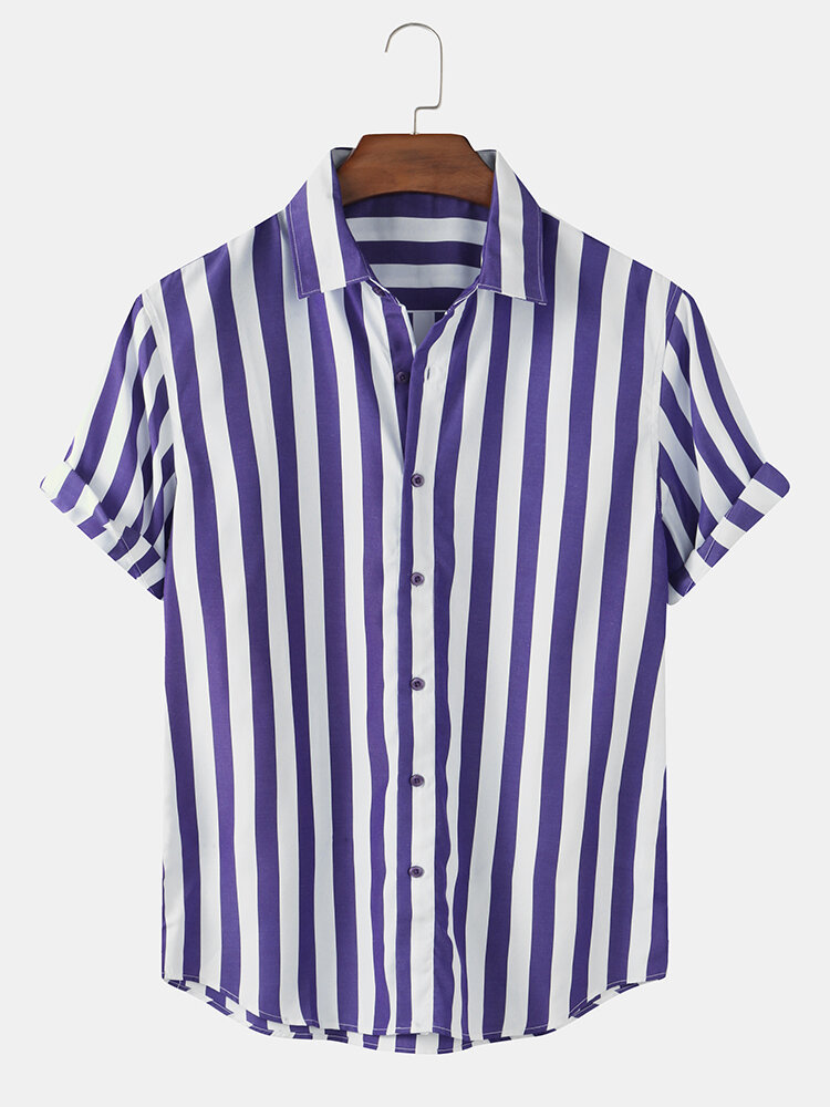 Mens Holiday Style Striped Cotton Casual Short Sleeve Designer Shirt