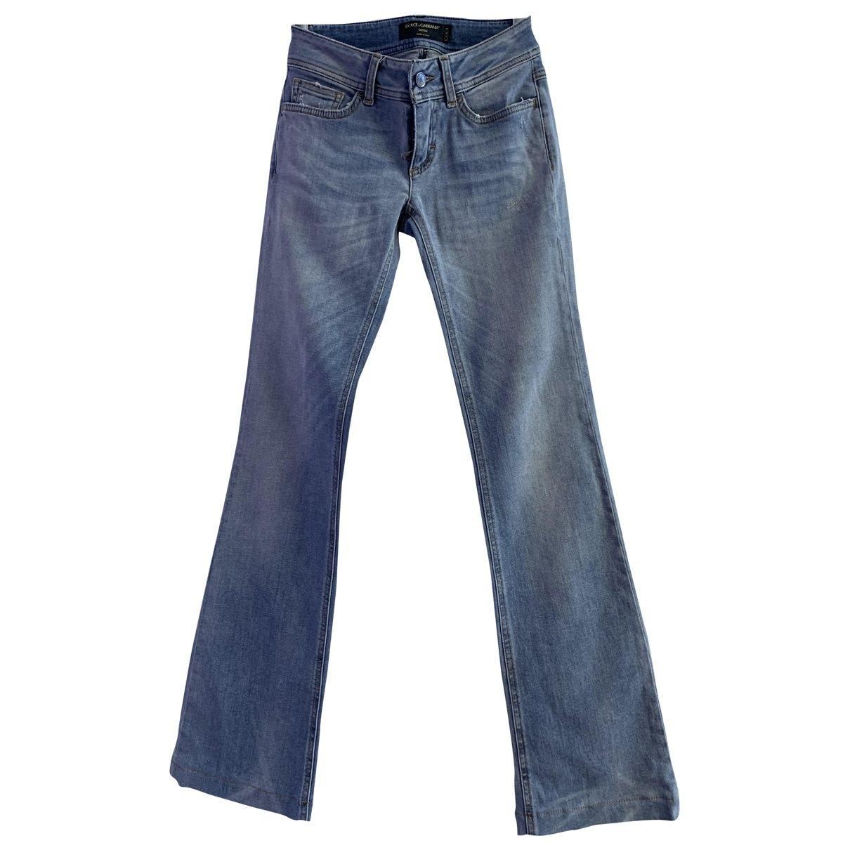 Dolce & Gabbana \N Blue Cotton Trousers for Women 36 IT