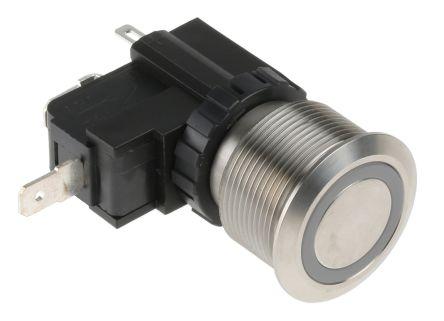 RS PRO Single Pole Single Throw (SPST) Latching White LED Push Button Switch, IP67, 22.2 (Dia.)mm, Panel Mount, 250 / (20)