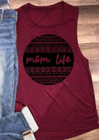 Mom Life Geometric Tank - Burgundy