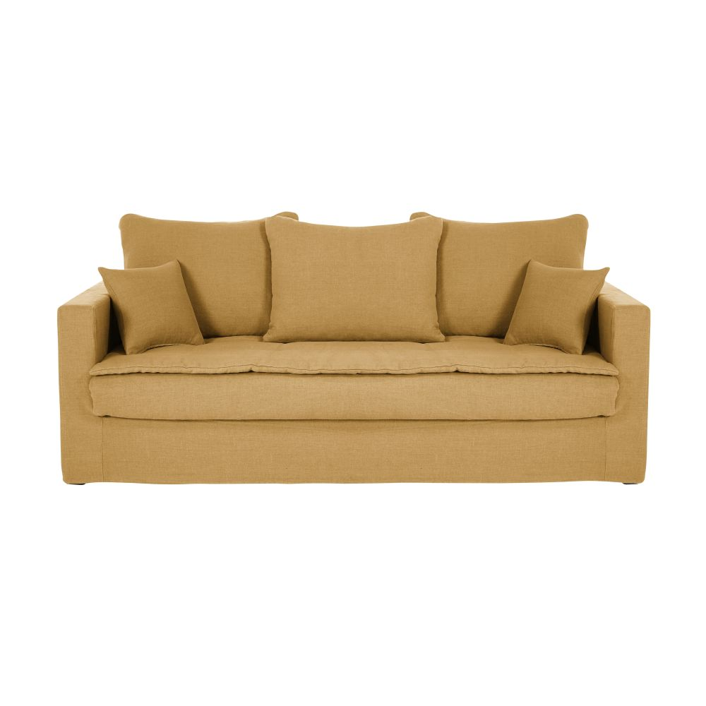 3/4-Sitzer-Schlafsofa mit ockerfarbenem Leinenbezug Celestin