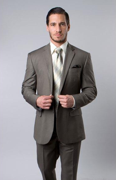 Men's Single Wool Platinum Stripe Olive Two Piece Suit Flat Front Pant