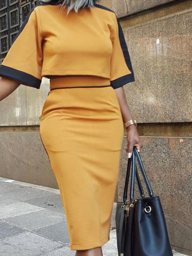 Ericdress Color Block Patchwork Office Lady Pullover Bodycon Two Piece Sets