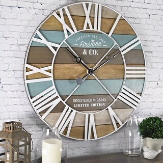FirsTime & Co.® Maritime Farmhouse Planks Wall Clock, Iron, 24 x 2 x 24 in, American Designed - 24 x 2 x 24 in (Multi-Color)