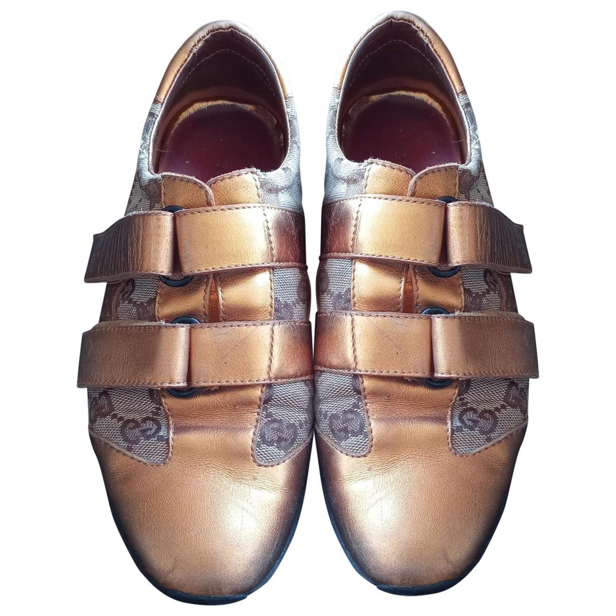 Gucci - Baskets   pour femme en cuir - metallise