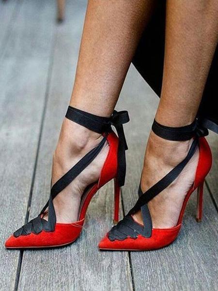 Milanoo Tacones rojos de gamuza con cordones del dedo del pie cordones de la correa del tobillo Bombas Zapatos de vestir de las mujeres