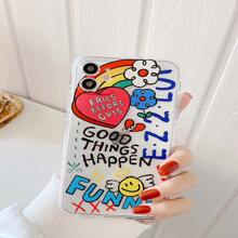 Letter & Cartoon Print iPhone Case