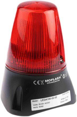 Moflash LEDA100 Buzzer Beacon 80dB, Red LED, 20 → 30 V ac/dc, IP65