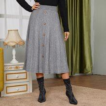 Falda jersey bajo amplio con boton