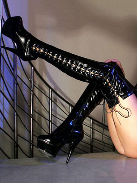 Milanoo Negro Zapatos Sexy de Mujer 2020 Plataforma Almendra con Encaje de Tacon Alto Botas Sobre la Rodilla