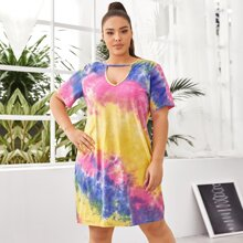 Grosse Grossen - T-Shirt Kleid mit Batik und Schluesselloch Kragen