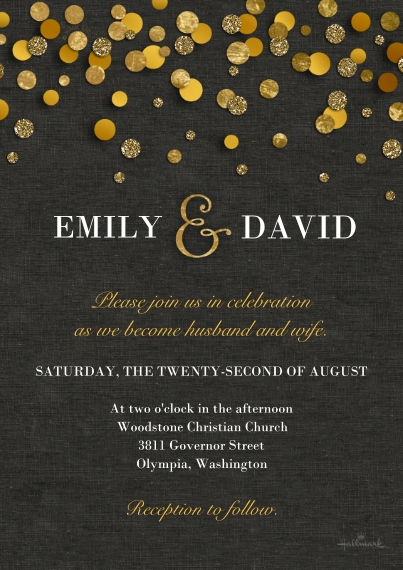 Bridal Shower Flat Glossy Photo Paper Cards with Envelopes, 5x7, Card & Stationery -Gold Dots Invitation