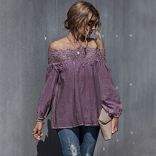 Contrast Guipure Lace Off The Shoulder Blouse