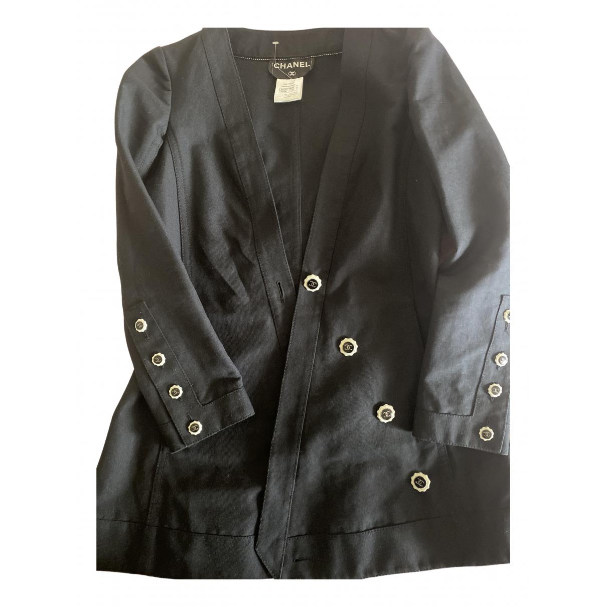 Chanel - Veste   pour femme en lin - noir
