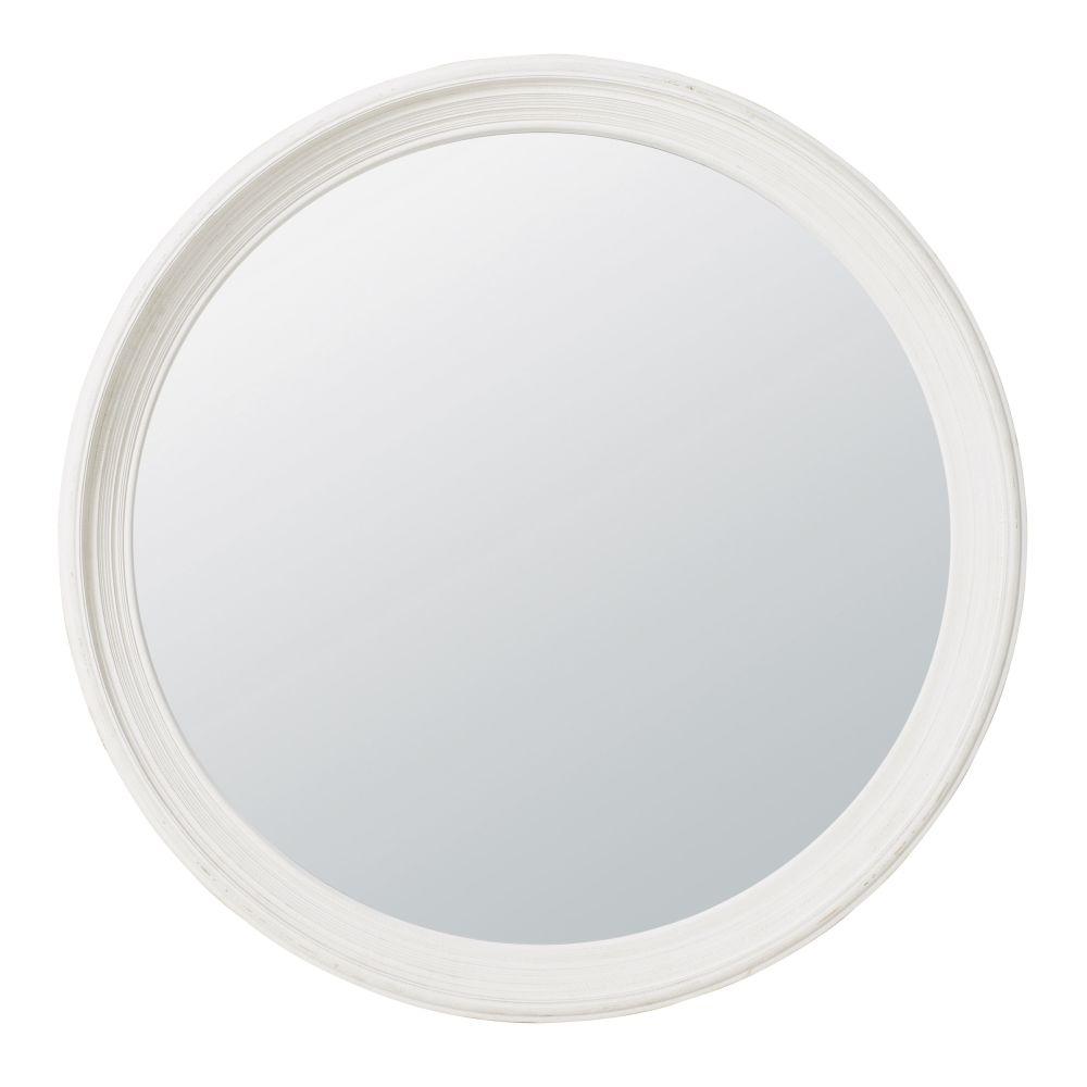 Runder Spiegel aus Paulownienholz, weiss D119