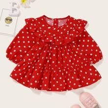 Baby Maedchen A Linie Kleid mit Punkten Muster und Rueschenbesatz