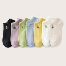 7 Paare Avocado Muster Socken