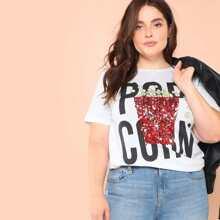 T-Shirt mit Pailletten, Popcorn & Buchstaben Muster