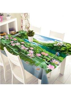 3D Gorgeous Modern Design Lotus Flower Prints Washable Tablecloth