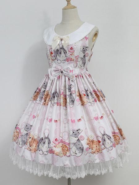 Milanoo Sweet Lolita Dress Neverland Do Not Eat Rabbits JSK Lilac Printed Lolita Jumper Skirt Original Design