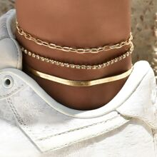 3pcs Rhinestone Decor Anklet