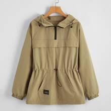 Kangaroo Pocket Drawstring Waist Hooded Anorak Jacket