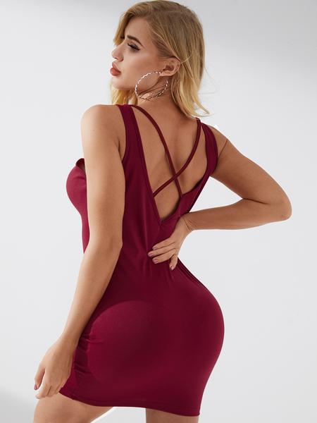 YOINS Criss-Cross Design Sexy Backless Design Sleeveless Dress