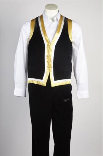 Mens 5 Button Vested Suit Black with White Shirt