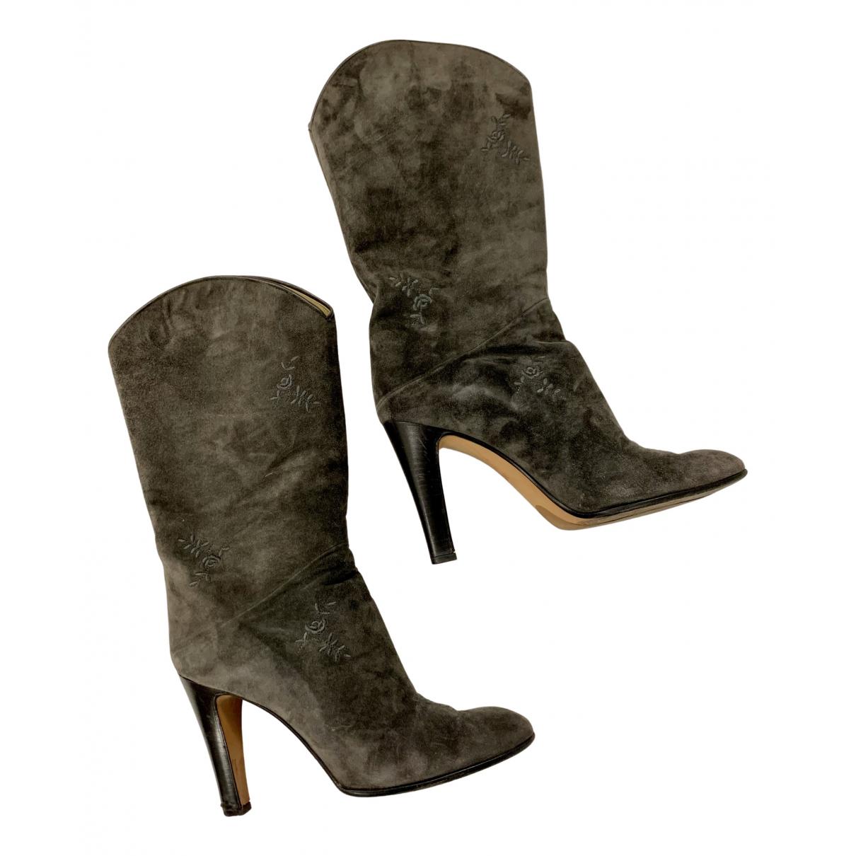 Gianni Versace - Bottes   pour femme en cuir - gris
