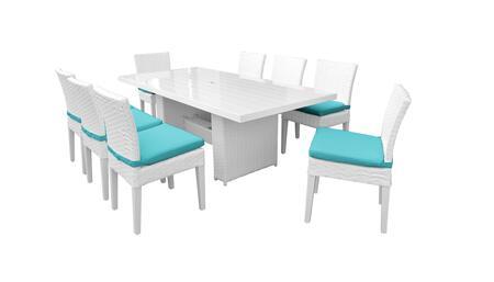 Miami MIAMI-DTREC-KIT-8C-ARUBA 9-Piece Patio Dining Set with Rectangular Dining Table and 8 Armless Chairs - Sail White and Aruba