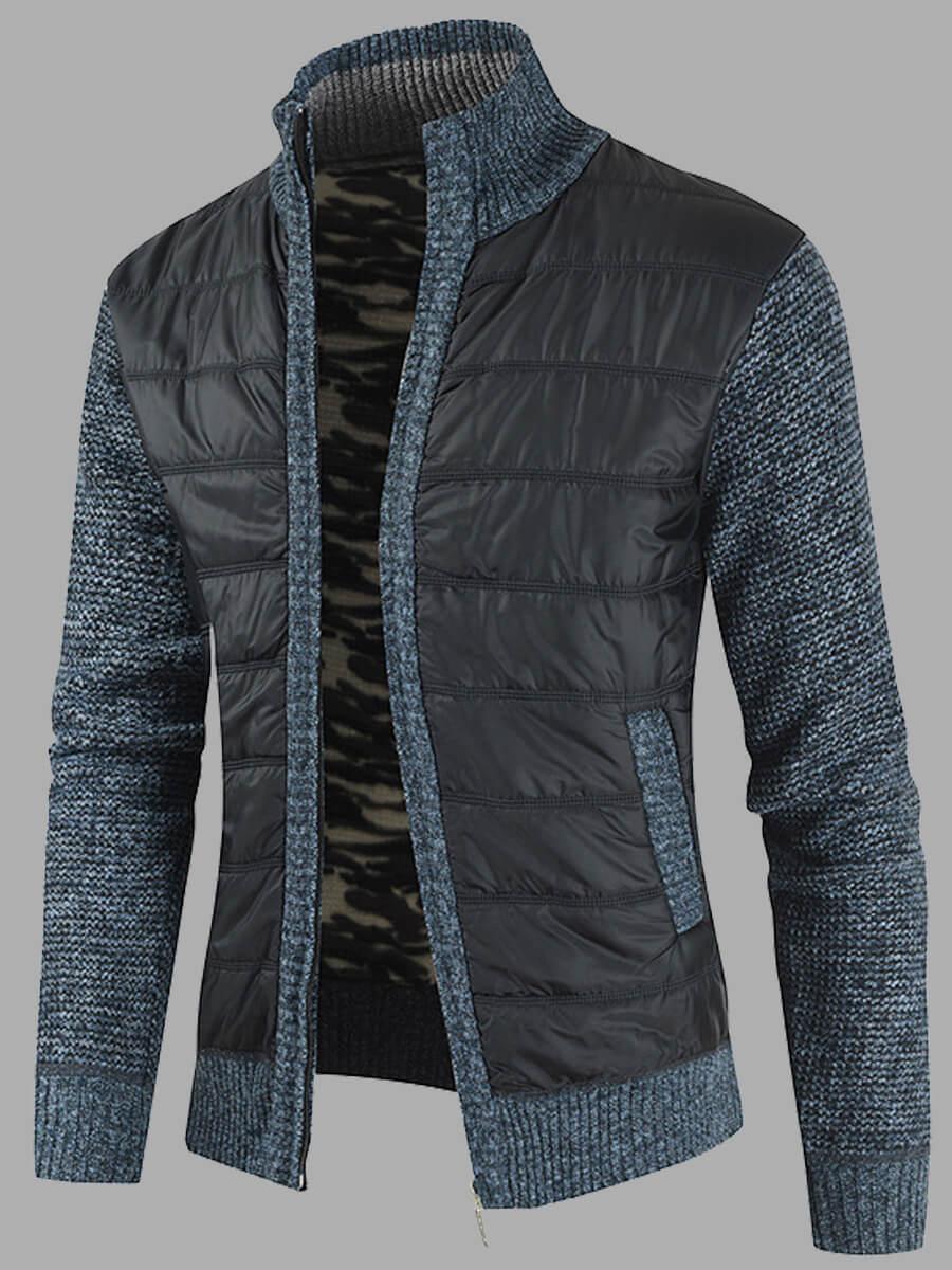 LW Lovely Casual Zipper Design Patchwork Blue Men Jacket