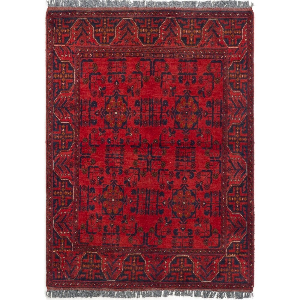 ECARPETGALLERY Hand-knotted Finest Khal Mohammadi Red Wool Rug - 3'3 x 4'7 (Red - 3'3 x 4'7)