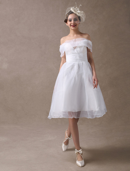 Milanoo White Wedding Dresses Short Off The Shoulder Organza Bow Pleated Bridal Reception Dress