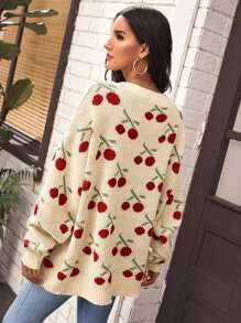 Drop Shoulder Cherry Pattern Cardigan