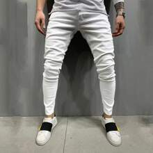 Men Slant Pocket Solid Button Fly Jeans