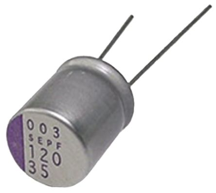 Panasonic 150μF Polymer Capacitor 16V dc, Through Hole - 16SEP150M (5)