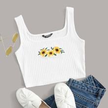 Tank Top mit Sonnenblumen Stickereien