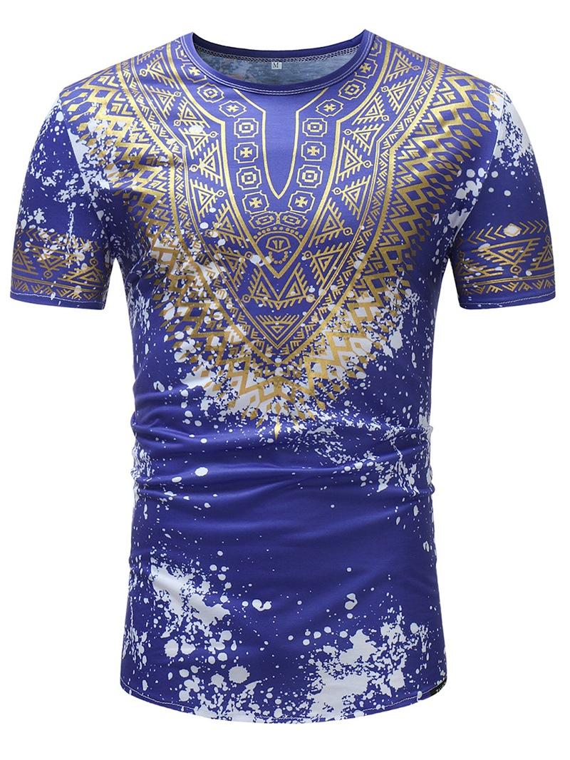 Ericdress African Fashion Dashiki Printed Slim Mens Scoop T Shirt