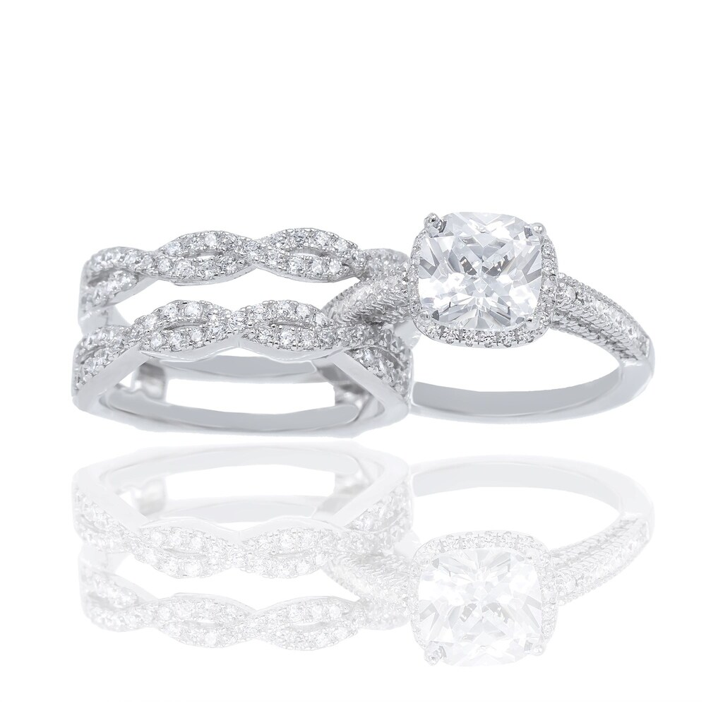 Cubic Zirconia Cushion Cut Center Stone and Infinity Insert Bridal Ring Set (10)