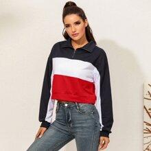 Sweatshirt mit Cut And Sew und halbem Reissverschluss