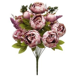 Mixed Peony Hydrangea Flower Stems Bush Bouquet 19in (Mauve - 19