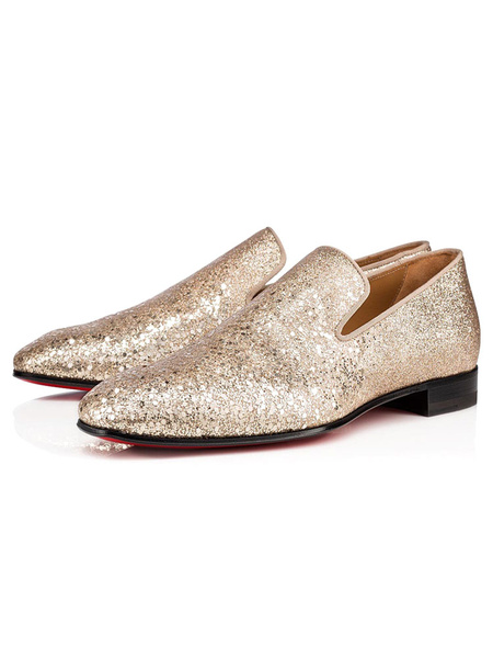 Milanoo Mens Loafers Shoes Gold Cowhide Leather Slip-On Round Toe Glitter Shoes