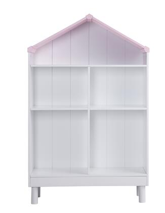 BM196194 Hut Shape Wooden Bookcase with Five Spacious Shelves  White and