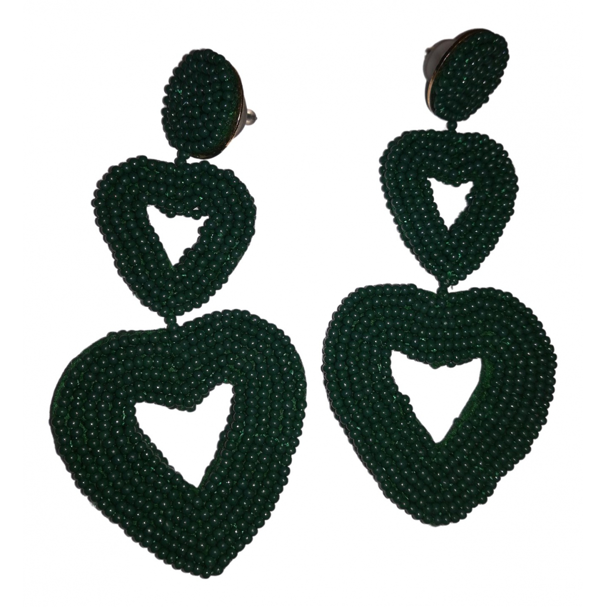 Non Signé / Unsigned Motifs Coeurs Green Metal Earrings for Women \N