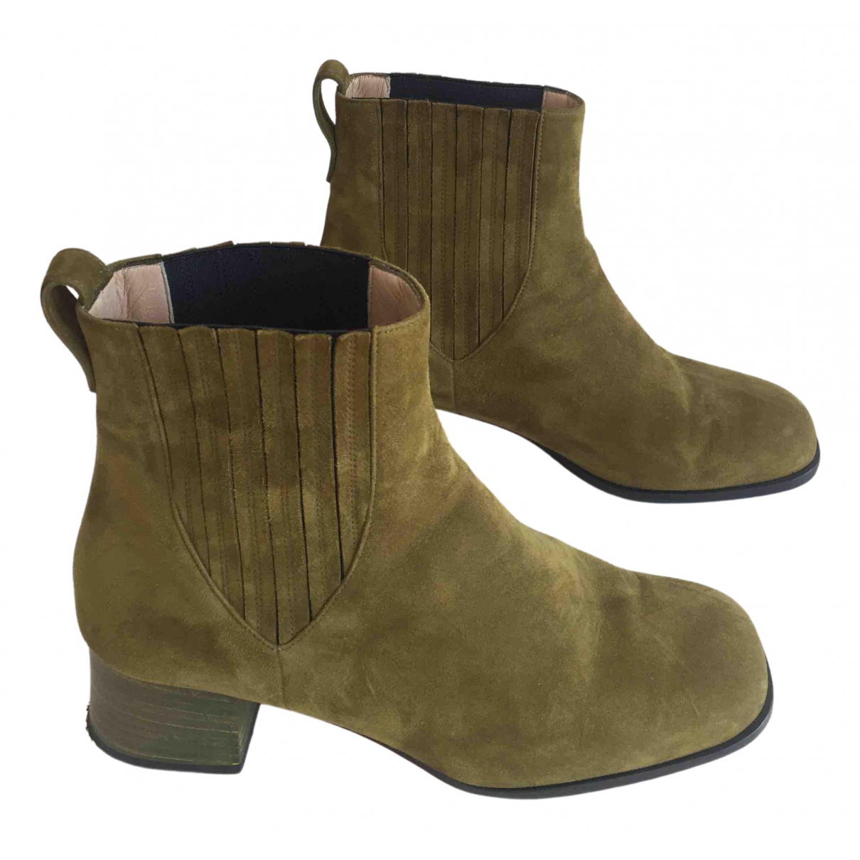 Dear Frances \N Green Suede Boots for Women 37 EU