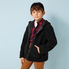 Cazadora teddy de niños con capucha con cremallera con bolsillo