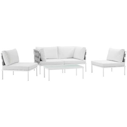 Harmony Collection EEI-2622-WHI-WHI-SET 5-Piece Outdoor Patio Aluminum Sectional Sofa Set with Coffee Table  2 Armless Chairs and 2 Corner Sofas in