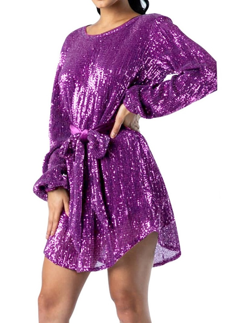 Ericdress Above Knee Sequins Round Neck Pullover Fall Dress